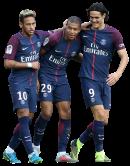 Neymar, Kylian Mbappé & Edinson Cavani football render