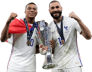 Kylian Mbappé & Karim Benzema football render