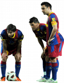Lionel Messi, David Villa & Xavi Hernandez football render