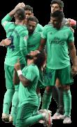 Marcelo, Sergio Ramos, Raphael Varane, Dani Carvajal, Casemiro & Thibout Courtois football render